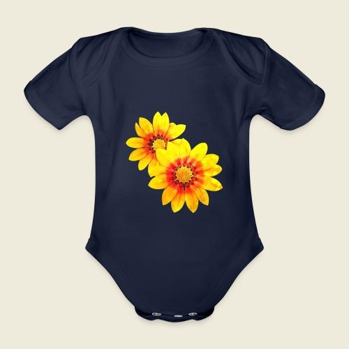 Leuchtende gelbe Blumen - Baby Bio-Kurzarm-Body