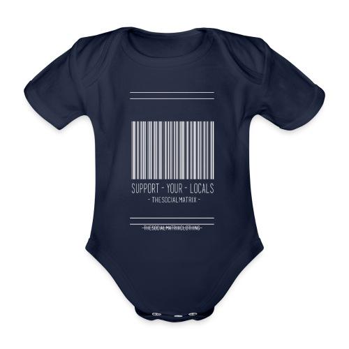STEUN JE PLAATSELIJKE [WIT] - Baby bio-rompertje met korte mouwen
