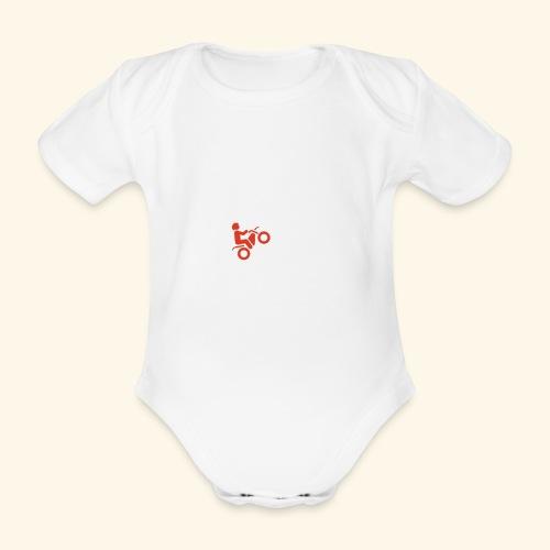 LOVE Cross white wheely red 001 - Baby Bio-Kurzarm-Body