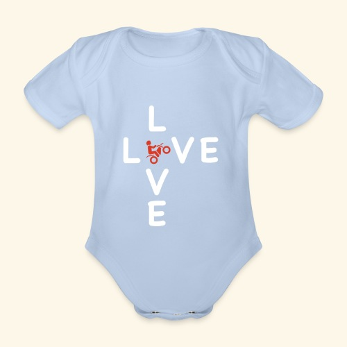 LOVE Cross white wheely red 001 - Baby Bio-Kurzarm-Body