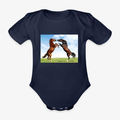 kaksi hevosta - Vauvan lyhythihainen luomu-body