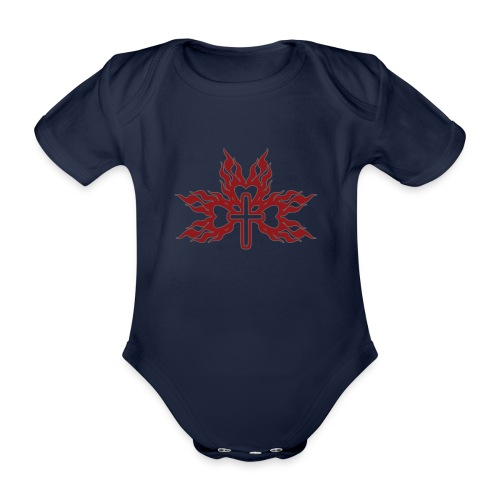 Cross with flaming hearts 01 - Organic Short-sleeved Baby Bodysuit