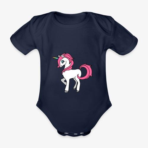 Süsses Einhorn mit rosa Mähne und Regenbogenhorn - Baby Bio-Kurzarm-Body