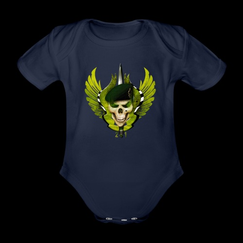 Two One Military Denim skull little Wings - Body Bébé bio manches courtes