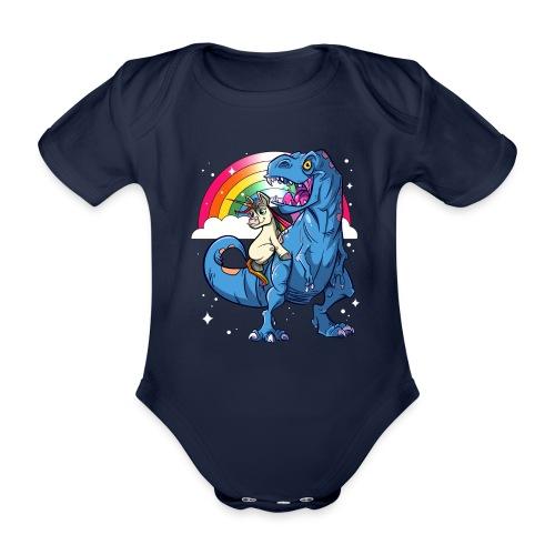 Dinosaurier mit Einhorn - Baby Bio-Kurzarm-Body