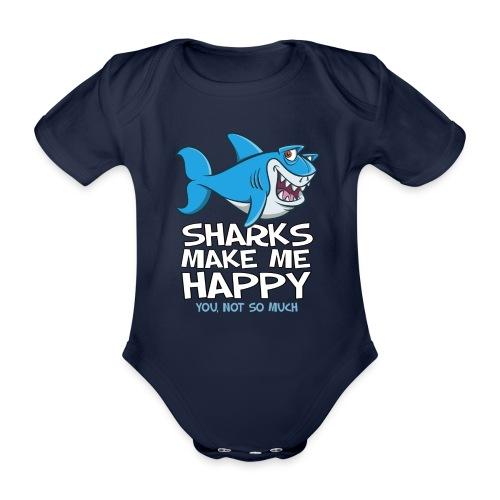 Sharks make me happy - Haifisch - Baby Bio-Kurzarm-Body