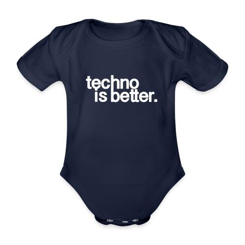 techno is better logo white - Ekologiczne body niemowlęce z krótkim rękawem