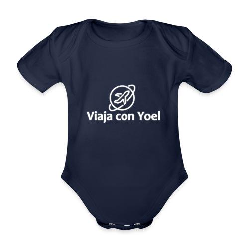 Viaja con Yoel White Logo - Body orgánico de manga corta para bebé