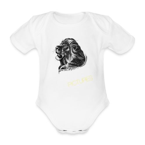 Cecil leeuw op zwart NEW - Organic Short-sleeved Baby Bodysuit