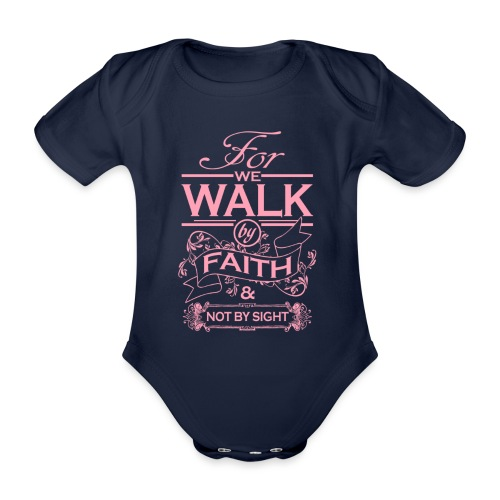walk pink - Organic Short-sleeved Baby Bodysuit