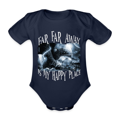My Happy Place - Black & White - Baby bio-rompertje met korte mouwen