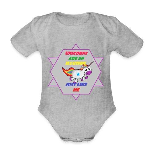 Unicorn with joke - Organic Short-sleeved Baby Bodysuit