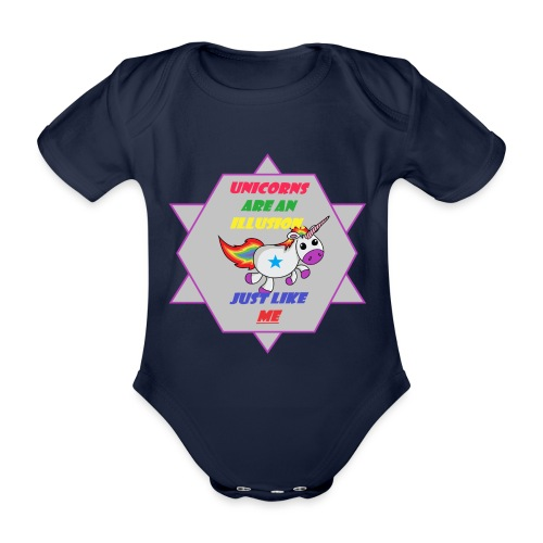 Unicorn with joke - Organic Short-sleeved Baby Bodysuit