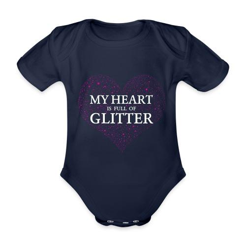 Herz Glitzer - Baby Bio-Kurzarm-Body