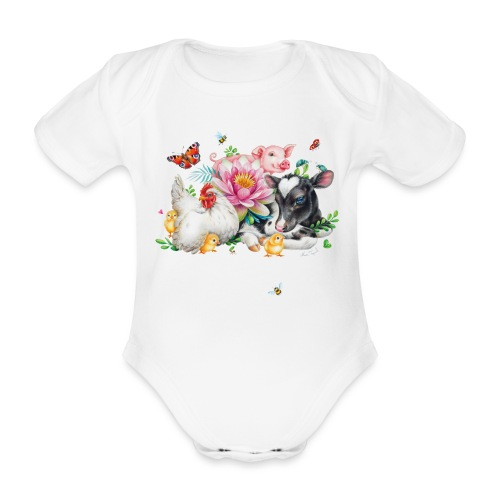 Love animals white text - Organic Short-sleeved Baby Bodysuit