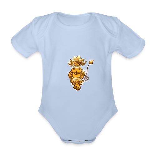 Goldene Gangster Kuh / Gold Thug Cow - Baby Bio-Kurzarm-Body