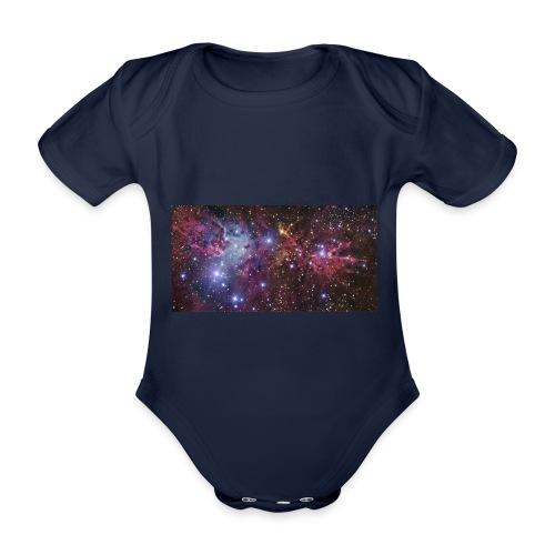 Stjernerummet Mullepose - Kortærmet babybody, økologisk bomuld