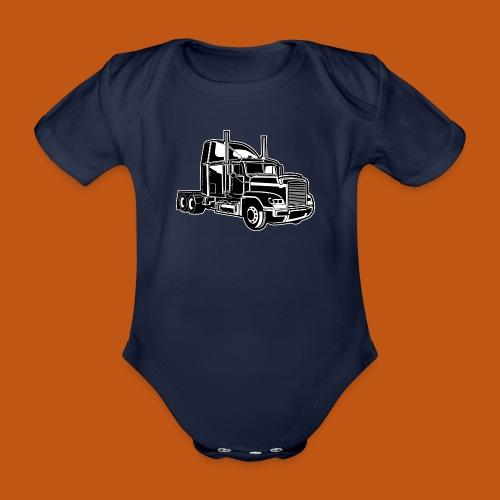 Truck / Lkw 02_schwarz weiß - Baby Bio-Kurzarm-Body