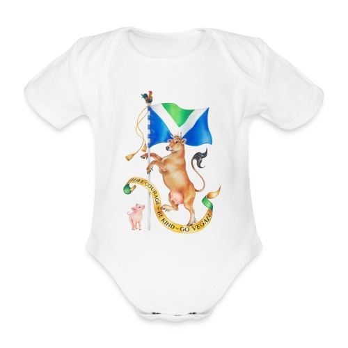 Vegan flag design by Maria Tiqwah - Organic Short-sleeved Baby Bodysuit