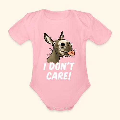 Ane I don't care! (texte blanc) - Body Bébé bio manches courtes