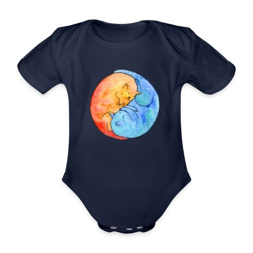 Katzenfreunde Yin Yang orange und blau - Baby Bio-Kurzarm-Body