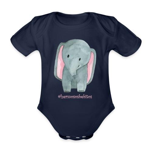 hermosos bebitos elefantito - Body orgánico de maga corta para bebé