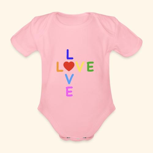 Rainbow Love. Regenbogen Liebe - Baby Bio-Kurzarm-Body