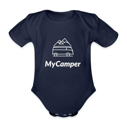 MyCamper Logo Weiss - Baby Bio-Kurzarm-Body