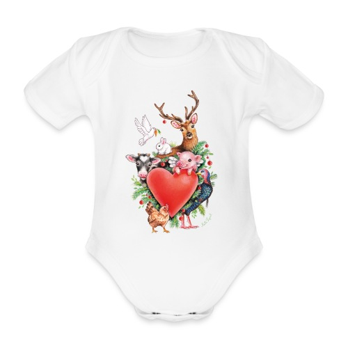 Christmas heart by Maria Tiqwah - Organic Short-sleeved Baby Bodysuit