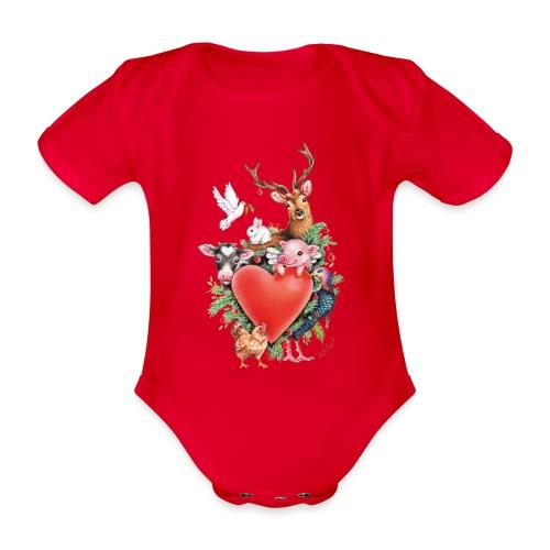 Christmas heart by Maria Tiqwah - Organic Short-sleeved Baby Bodysuit