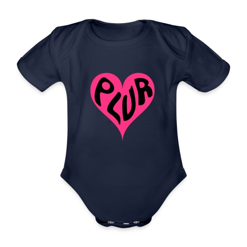 PLUR - Peace Love Unity and Respect love heart - Organic Short-sleeved Baby Bodysuit