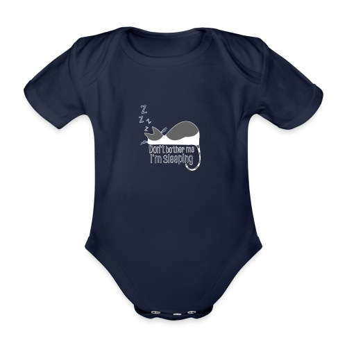 Sleeping cat gray white - Organic Short-sleeved Baby Bodysuit