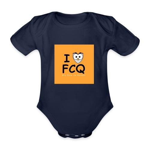I Love FCQ button orange - Baby Bio-Kurzarm-Body
