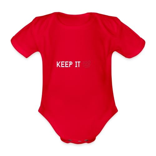 KEEP IT 100 WIT png - Baby bio-rompertje met korte mouwen