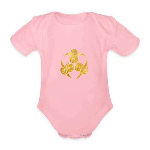 Three Geese Japanese Kamon in gold - Organic Short-sleeved Baby Bodysuit