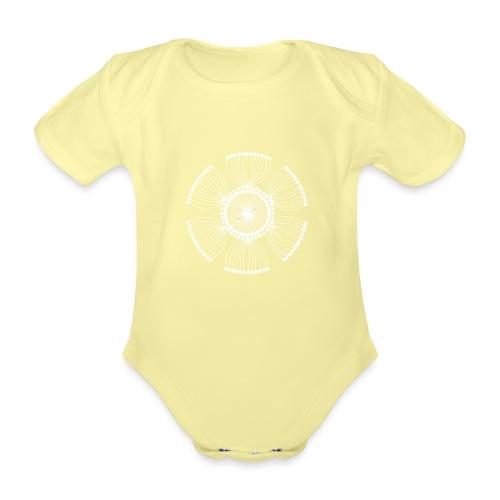 White Poppy Seed Mandala II - Organic Short-sleeved Baby Bodysuit