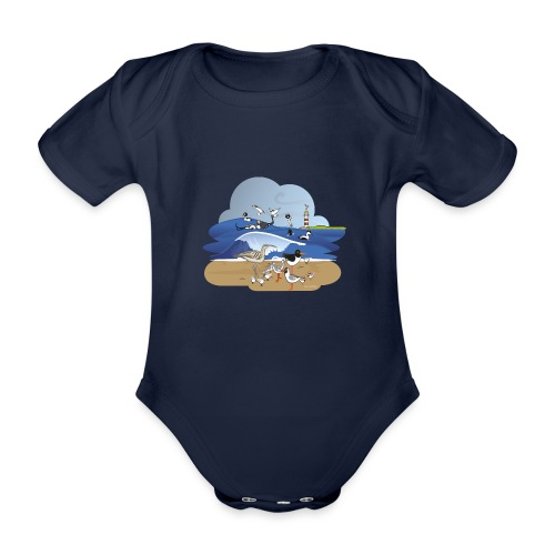 See... birds on the shore - Organic Short-sleeved Baby Bodysuit