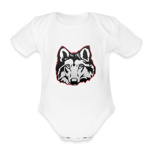 Wolfie (Red) - Organic Short-sleeved Baby Bodysuit