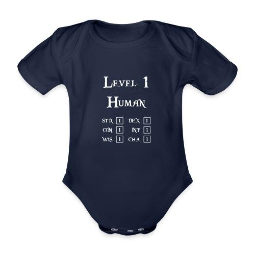 Level 1 Human - Wit - Baby bio-rompertje met korte mouwen