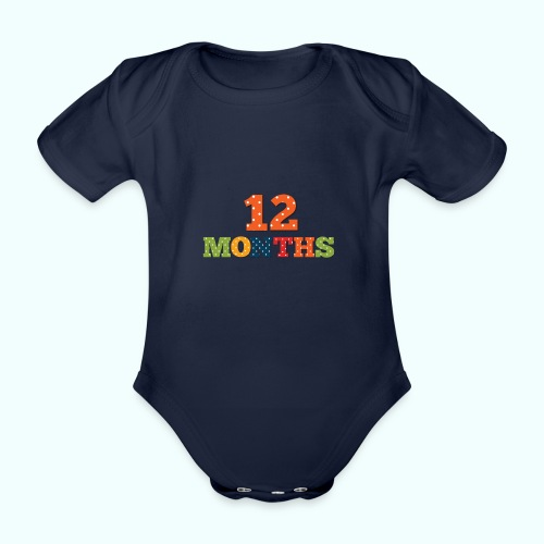 Twelve 12 months old baby print photography prop - Organic Short-sleeved Baby Bodysuit