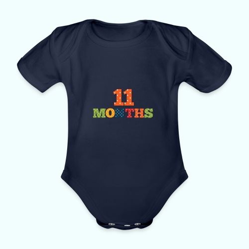 Eleven 11 months old baby age print photo prop - Organic Short-sleeved Baby Bodysuit