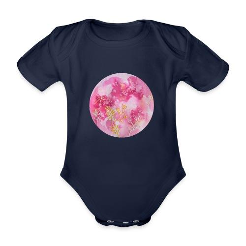 Ręcznie malowany różowy księżyc w pełni - Ekologiczne body niemowlęce z krótkim rękawem