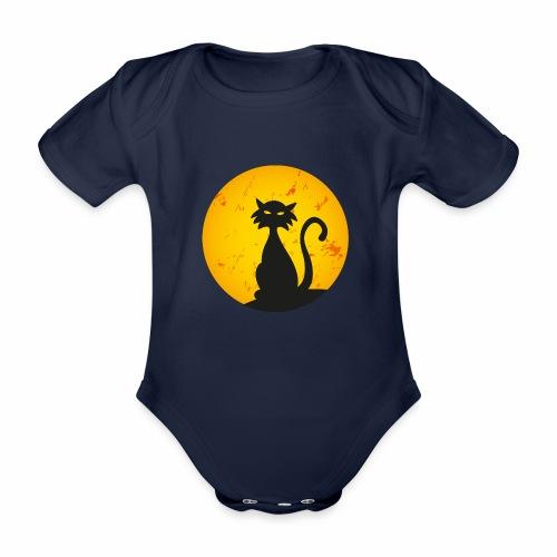 LA LUNA E IL GATTO 2 - THE CAT AND MOON 2 - Body ecologico per neonato a manica corta