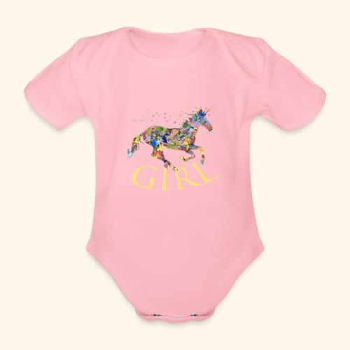 unicorn girl T-shirt - Body ecologico per neonato a manica corta
