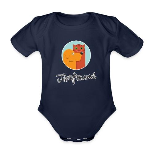 Tierfreund mit Schriftzug - Baby Bio-Kurzarm-Body