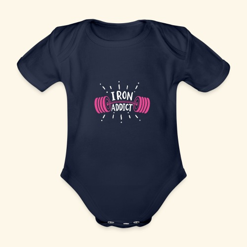 VSK Lustiges GYM Shirt Iron Addict - Baby Bio-Kurzarm-Body