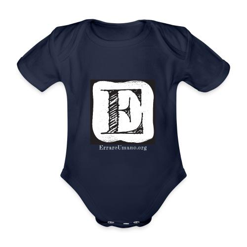 Logo ErrareUmano con scritta bianca - Body ecologico per neonato a manica corta