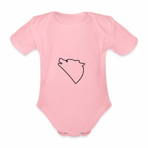 Wolf baul logo - Baby bio-rompertje met korte mouwen