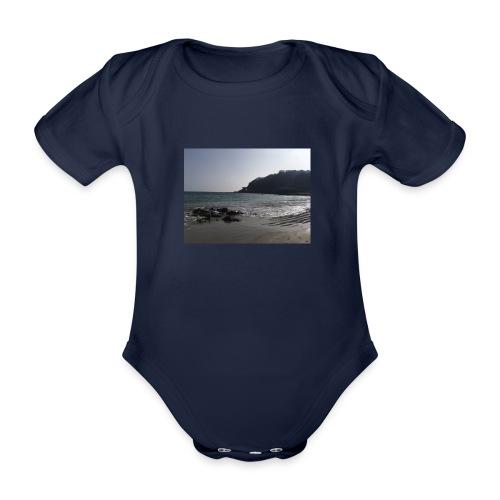 Guernsey Channel Island Beach - Organic Short-sleeved Baby Bodysuit