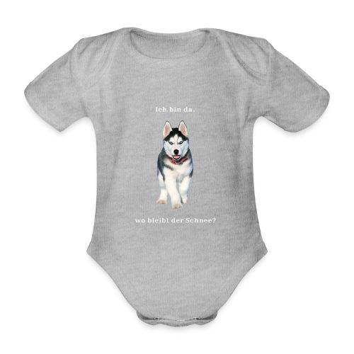 Husky Welpen mit bezaubernden Augen - Baby Bio-Kurzarm-Body